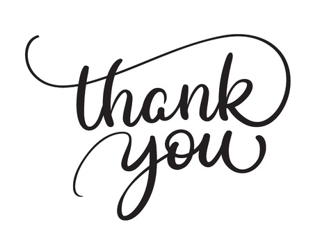 Thank you text on white background. Calligraphy lettering Vector illustration EPS10 Illustration