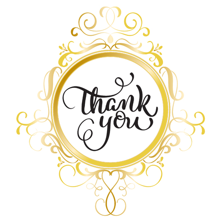 Thank you text with round gold frame on a white background. Calligraphy lettering Vector illustration EPS10