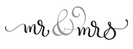 dona: Mr and Mrs text on white background. Hand drawn Calligraphy lettering Vector illustration EPS10