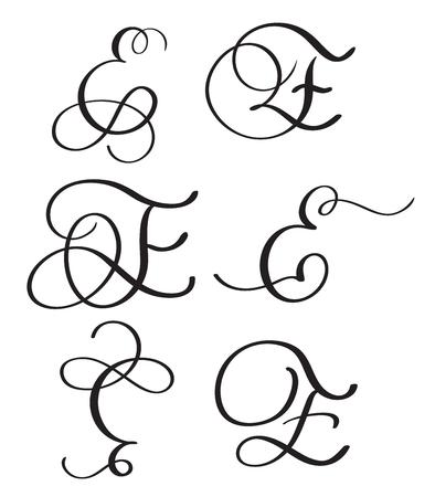 set of art calligraphy letter E with flourish of vintage decorative whorls. Vector illustration EPS10 Illustration