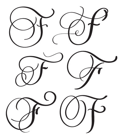 whorls: set of art calligraphy letter F with flourish of vintage decorative whorls. Vector illustration EPS10
