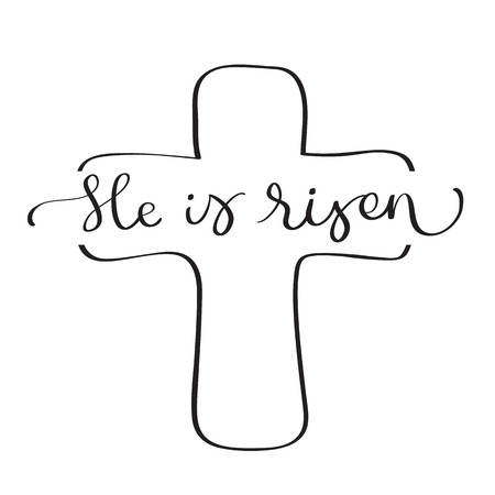 He is Risen text with cross on white background. Calligraphy lettering Vector illustration EPS10