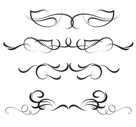 Set of vintage flourish decorative art calligraphy vector illustration design. Illustration