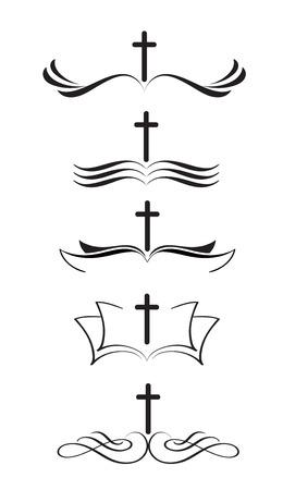 クロスのロゴ キリスト教および聖書手描き書道ベクトル図のセット。