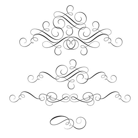 whorls: set of vintage flourish decorative art calligraphy whorls for text. Vector illustration EPS10