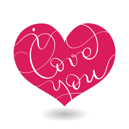 I love you text in red heart. Vector calligraphy and lettering EPS10