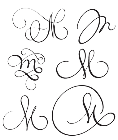 Set of art calligraphy letter M with flourish of vintage decorative whorls.