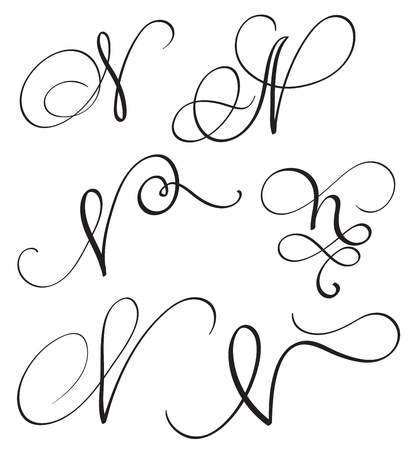 set of art calligraphy letter N with flourish of vintage decorative whorls. Vector illustration EPS10