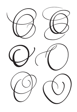 set of art calligraphy letter O with flourish of vintage decorative whorls. Vector illustration EPS10 Illustration