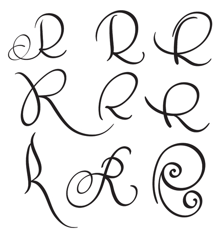 whorls: set of art calligraphy letter R with flourish of vintage decorative whorls. Vector illustration EPS10