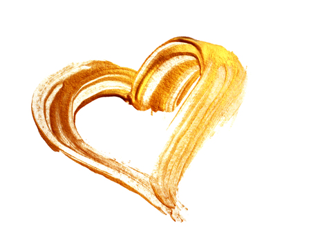 Abstract gold heart with acrylic paint brush on white background Imagens