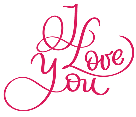 I love you red vector vintage text. Calligraphy lettering illustration EPS10 on white background