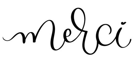 Merci vector vintage word text. Calligraphy lettering illustration EPS10 on white background