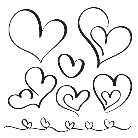 wedding couple: Set of flourish calligraphy vintage hearts. Illustration vector hand drawn EPS 10