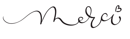 Merci word on white background. Hand drawn Calligraphy lettering Vector illustration EPS10