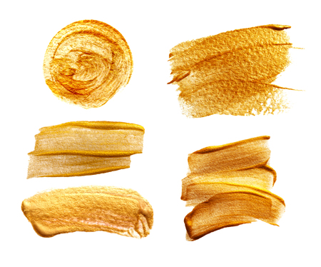 Abstract golden smears on white background with place for text Stock Photo