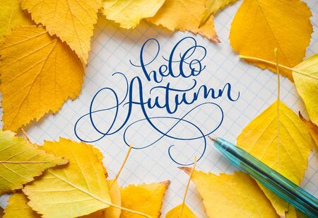 autumn yellow leaves with pan on sheet of paper and text Hello Autumn in center