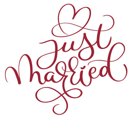 Just married red text with heart on white background. Hand drawn Calligraphy lettering Vector illustration EPS10 Çizim
