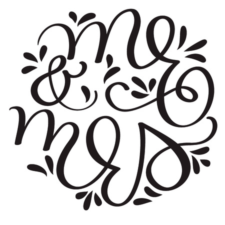 mr and mrs text on white background. Hand drawn Calligraphy lettering Vector illustration EPS10 Banco de Imagens - 90223619
