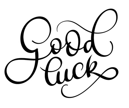 hand print: Good luck text on white background. Hand drawn Calligraphy lettering Vector illustration.