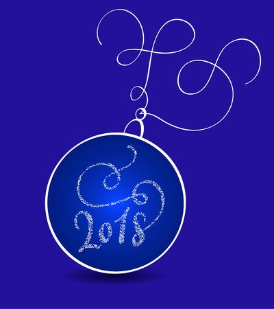 New Years stylized holiday ball and 2018 on a blue background