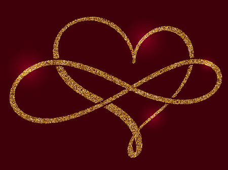 golden calligraphic heart and a sign of infinity on a claret background. Vector illustration EPS10 Stok Fotoğraf - 86227344