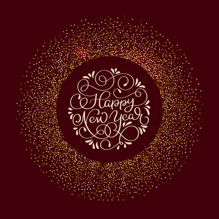 Happy New Year text and Shiny round Composition With Stars And Sparkles on claret background. Hand drawn holiday Calligraphy Vector illustration EPS10