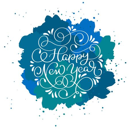 countdown: Happy New Year calligraphy text on blue abstract vector background with sparkles. Greeting card design template Illustration