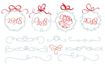 whorls: Set of New Year holiday tags with 2018 and Decorative Calligraphy flourish art with vintage whorls for design. Vector illustration EPS10