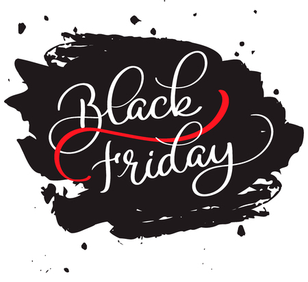 website backgrounds: Black Friday calligraphy text on black brush colorwater background. Hand drawn lettering illustration