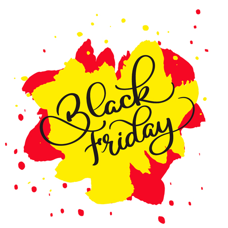 website backgrounds: Black Friday calligraphy text on yellow and red abstract colorwater background. Hand drawn lettering illustration
