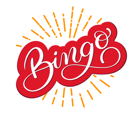 Palabra de Bingo. Bella tarjeta de felicitación rayado caligrafía. Mano dibujada invitación T-shirt diseño de impresión. Manuscrito cepillo moderno letras vector de fondo blanco