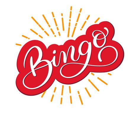 Bingo word. Beautiful greeting card scratched calligraphy. Hand drawn invitation T-shirt print design. Handwritten modern brush lettering white background vector Vettoriali