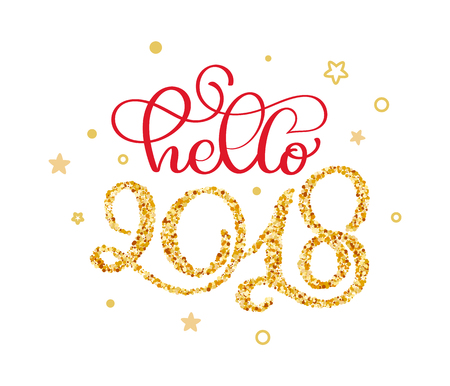 hello 2018 hand lettering text with little gold stars to winter holiday greeting card. Christmas banner calligraphy quote. Vector illustration xmas