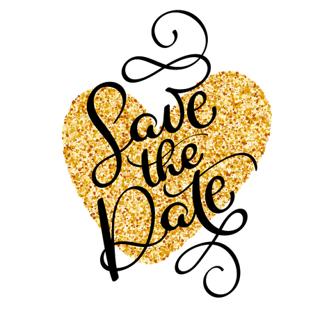 Save the date text calligraphy on a background of a golden heart. vector lettering for wedding card Illustration