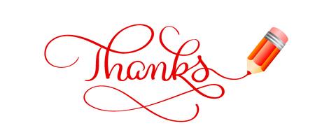 Grazie a Calligrafia Lettering text, Red Pencil and Notebook Write Design