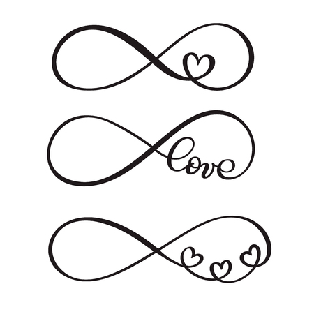 Set of word love original custom hand lettering, handmade calligraphy, design with elements of the flourish heart, valentine and infinity Vectores