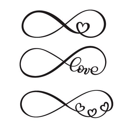 Satz der ursprünglichen kundenspezifischen Handbeschriftung des Wortliebes, handgemachte Kalligraphie, Design mit Elementen des Flourishherzens, Valentinsgrußes und Unendlichkeit