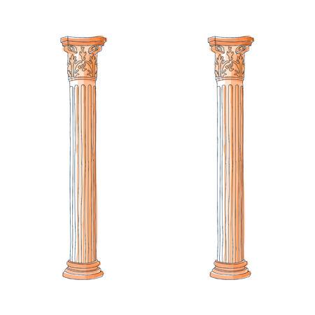 doric: Stylized greek doodle column Doric Ionic Corinthian columns vector illustration.