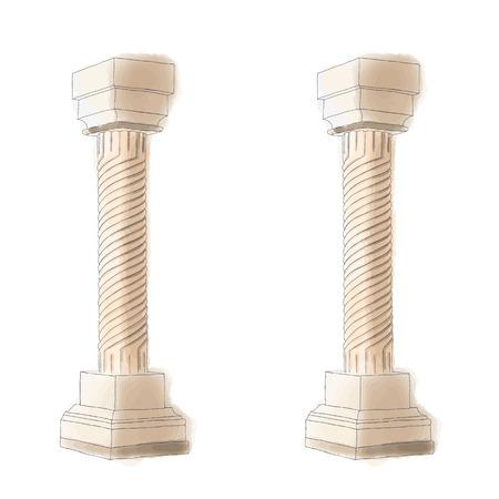 doric: Stylized Greek doodle pillar column Doric Ionic Corinthian columns.