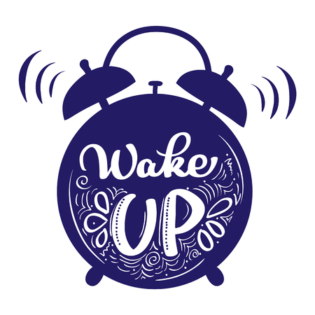 Wake up modern calligraphy lettering. Illustration