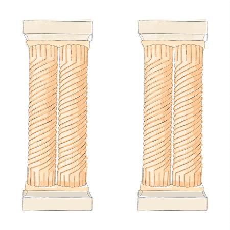 doric: Greek doodle Doric Ionic Corinthian columns. Vector illustration Classical architecture