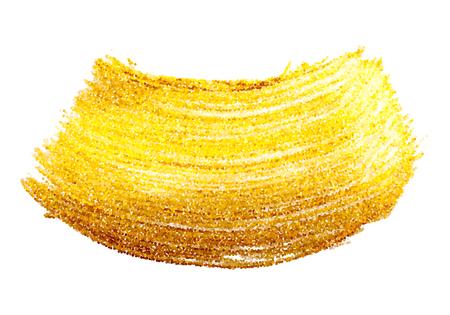 Gold metallic shimmering brush stroke. Artistic design element Illustration