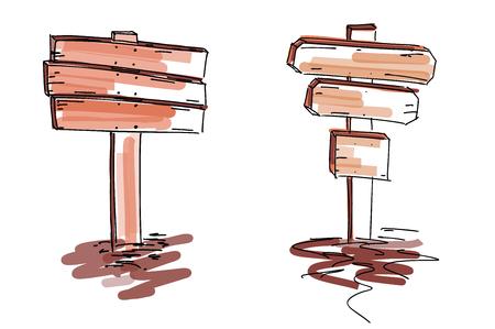 Ensemble de panneaux en bois. Illustration vectorielle isolée sur fond blanc
