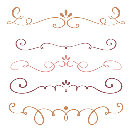 whorls: Art calligraphy flourish of vintage decorative whorls for design. vector illustration