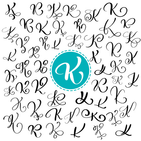 Set of Hand drawn vector calligraphy letter K. Script font. Isolated letters written with ink. Handwritten brush style. Hand lettering for logos packaging design poster