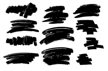 Set of Black brush stroke and texture. Grunge vector abstract hand painted element. Place for text. Illustration