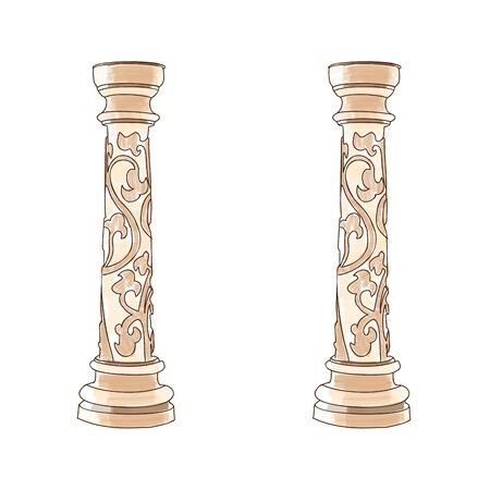 roman pillar: Stylized Greek doodle column Doric Ionic Corinthian columns. Vector illustration. Classical architecture Stock Photo