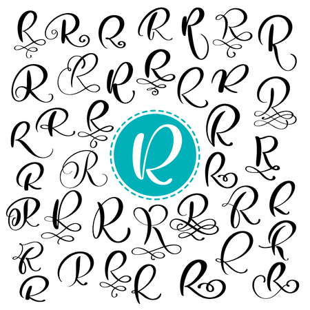 Set letter R. Hand drawn vector flourish calligraphy. Script font. Isolated letters written with ink. Handwritten brush style. Hand lettering for logos packaging design poster