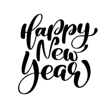 Happy New Year hand-lettering text. Handmade vector Christmas calligraphy EPS. Decor for greeting card